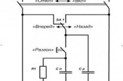 Рисунок 1. Принципиальная схема включения трехфазного электродвигателя в сеть 220 В: С р - рабочий конденсатор; С п - пусковой конденсатор; П1 - пакетный выключатель