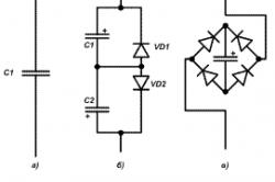 Рисунок 6. Принципиальная схема замены бумажного конденсатора (а) электролитическим (б, в)