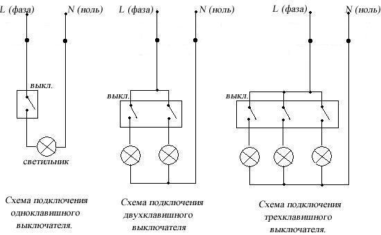 Схемы подключения выключателей