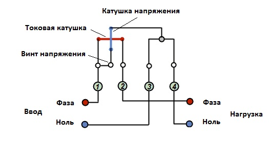 Схема однофазного счетчика электрической энергии
