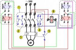 Реверсивная схема управления магнитным пускателем