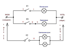 Схема электропроводки под розетку с двумя фазами
