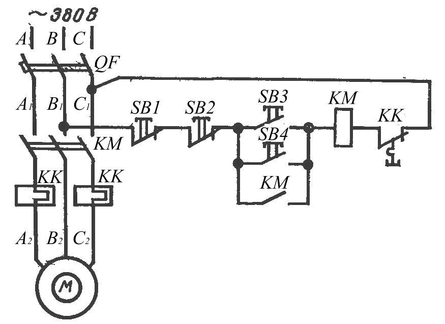 Схема управления электродвигателем с двух мест при наличии соответствующего количества кнопочных станций