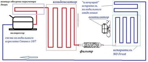 Пример схемы агрегата холодильника
