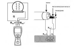 Трехпроводная схема измерения сопротивления изоляции двигателя и коаксиального кабеля