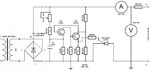 Упрощенная схема зарядного устройства для автомобильных аккумуляторов