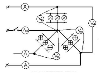 Схема соединения симметричной нагрузки звездой