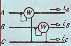 Схема способа двух ваттметров