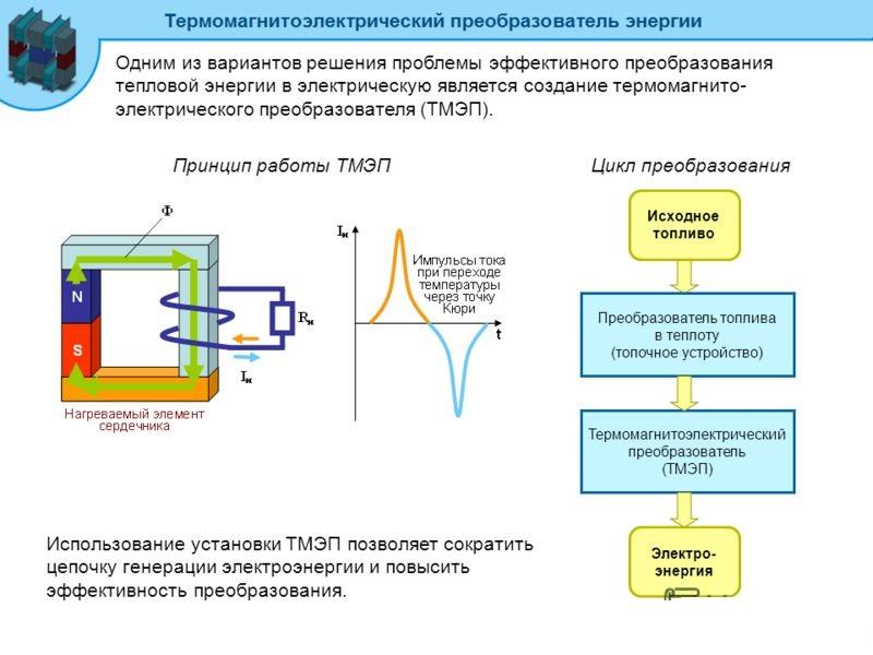 Принцип преобразования тепловой энергии в электрическую