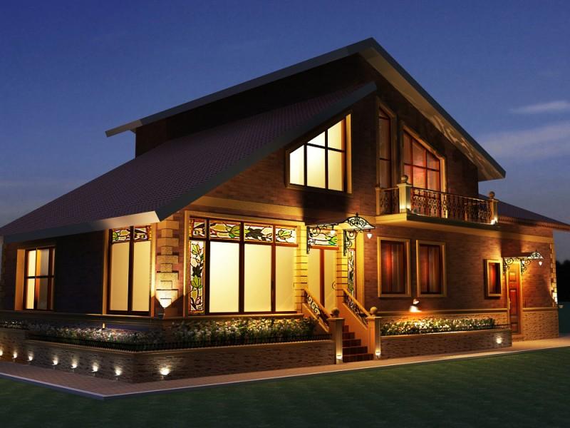 Дом с автоматическим освещением.