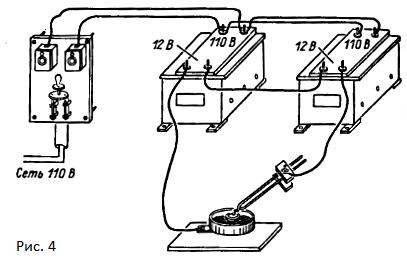 Рисунок 4. Установка для электросварки термопар в хлористом барии