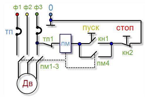 Схема подключения однофазного магнитного пускателя