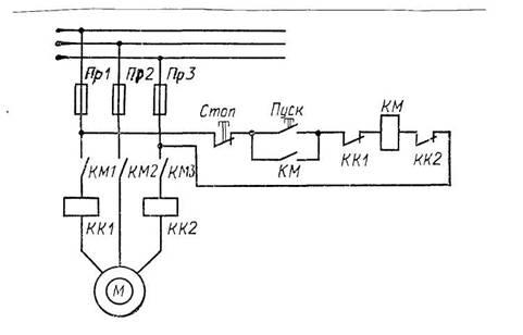 Схема нереверсивного пускателя
