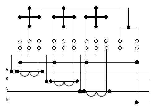Схема подключения трёхфазного электросчётчика через трансформаторы тока