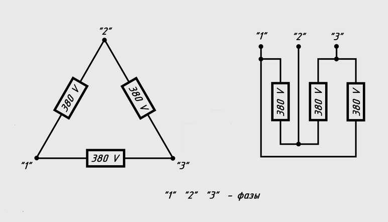Принципиальная схема соединения «треугольник»