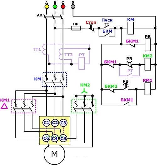 схема подключения пускателя с двумя кнопками пуск стоп