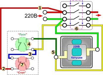 схема подключения двигателя через пускатель с реверсом
