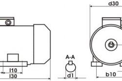 Габаритный чертеж электродвигателя