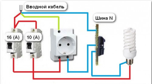 Схема двухвазной системы подключения розетки