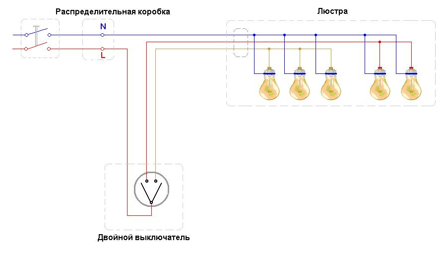 Схема подключения люстры 5 лампочек 279