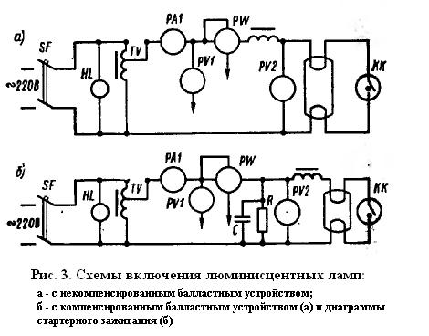 Схемы включения люминисцентных