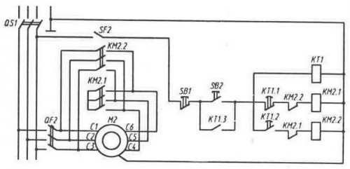 Схема пуска трехфазного асинхронного электродвигателя включением на пусковую схему «звезда»