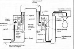 Схема подключения осветительного прибора в конце линии