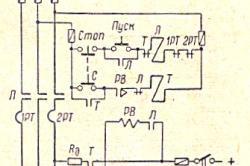 Рис. 4 Схема управления асинхронным короткозамкнутым двигателем с динамическим торможением