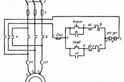 Схема управления асинхронным короткозамкнутым двигателем с возможностью реверсирования