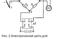 Электрическая цепь для измерения температуры при помощи термопары