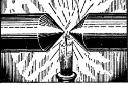 Рисунок 1. Пламя свечи между полюсами электромагнита