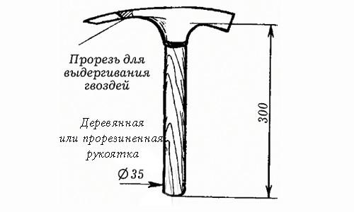 Молоток с деревянной или прорезиненной рукояткой.