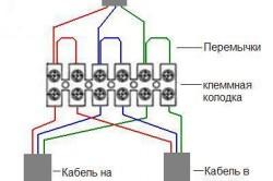 Схема соединения проводов клеммными колодкам