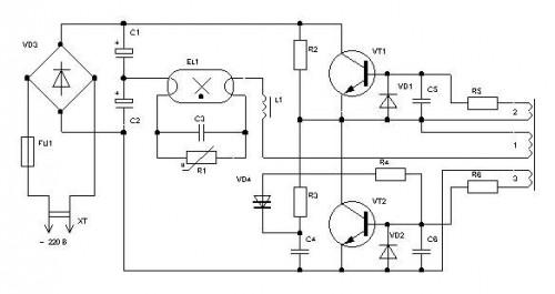 Схема подключения энергосберегающей лампочки
