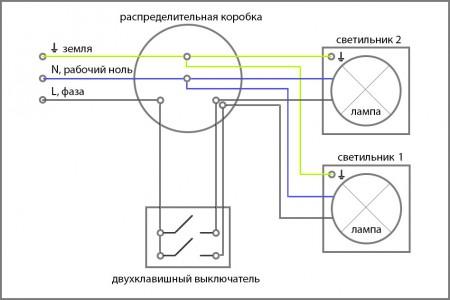 Проводка и схема подключения выключателя