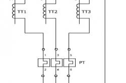 Схема подключения трансформаторов тока и теплового реле