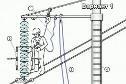 Схема положения электромонтера во время ремонта ЛЭП
