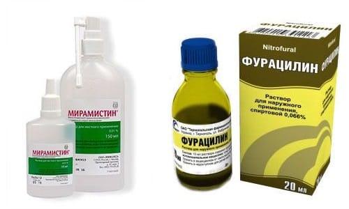 Фурацилин и Мирамистин оказывают противовоспалительное и антимикробное действие